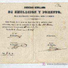 Facturas antiguas: SOCIEDAD SEVILLANA DE EMULACIÓN Y FOMENTO DE LA ILUSTRACIÓN,AGRICULTURA,ARTES Y COMERCIO. COMO - . Lote 18212763