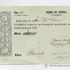 Facturas antiguas: DIARIO DE SEVILLA.RECIBÍ DEL SR. JOSÉ Mº IBARRA (CONDE IBARRA) POR SUSCRICIÓN TRIMESTRAL DE 1849. LA. Lote 18212996