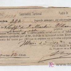 Facturas antiguas: RECIBO DE CONTRIBUCIÓN TERRITORIAL.PROVINCIA DE SEVILLA. POR 27,82 PTAS. UTRERA 1874.. Lote 18289996