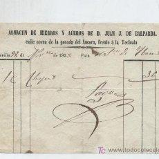 Facturas antiguas: ALMACEN DE HIERROS Y ACEROS DE D. JUAN J. DE BALPARDA. SEVILLA 1853.. Lote 18759435
