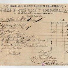 Facturas antiguas: OBRADOR DE GUARNICIONERO Y ALMACÉN DE HIERRO LABRADO.DE D.JOSÉ DIAZ Y COMPAÑÍA EN EL BA-. Lote 18759575