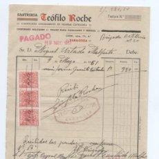 Facturas antiguas: SASTRERIA TEOFILO ROCHE. ZARAGOZA 1951. CON TRES SELLOS FISCALES.. Lote 18972769