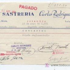 Facturas antiguas: FACTURA DE SASTRERIA CARLOS RODRIGUEZ. ZARAGOZA 1951. CON TRES SELLOS FISCALES.. Lote 18972797