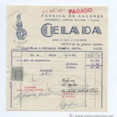Facturas antiguas: FACTURA DE FABRICA DE GALONES. CORDONERIA Y EFECTOS MILITARES Y CIVILES. MADRID 1951.. Lote 18972829