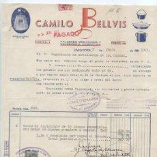 Facturas antiguas: FACTURA DE CAMILO BELLVIS. TALLERES MECANICOS DE CALDERERIA DOMESTICA. ZARAGOZA 1951.. Lote 18972900