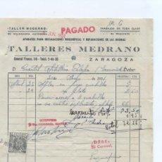 Facturas antiguas: FACTURA DE TALLERES MEDRANO. ZARAGOZA 1951.. Lote 18972912