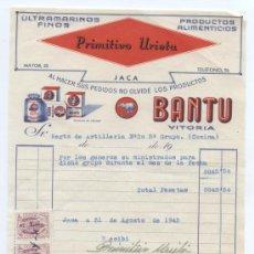 Facturas antiguas: TEMA ALIMENTACION. FACTURA DE PRIMITIVO URIETA. JACA (HUESCA) 1945. Lote 18972944