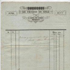 Facturas antiguas: FACTURA. FÁBRICA DE TEJIDOS DE SEDA DE D. MANUEL CASTILLO. SEVILLA 1850. Lote 18980769