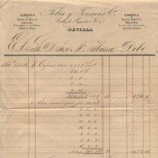 Facturas antiguas: TOBIA Y TORESANO. ALMACÉN DE GENEROS DE MERCERÍA.CALLE DE PAJARITOS 5 SEVILLA 1850. Lote 18980919