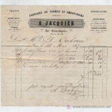 Facturas antiguas: FACTURA DE EXPORTACIÓN FRANCESA. A.JACQUIER.FABRIQUE DE FORMES ET EMBOUCHOIRS. PARIS 1857.. Lote 18981539