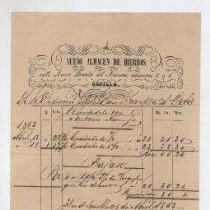 Facturas antiguas: NUEVO ALMACÉN DE HIERROS.CALLE ACERA DEL ANCORA 5 Y 6 SEVILLA 1853.. Lote 18981623