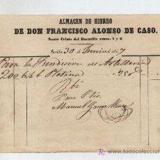 Facturas antiguas: POR 506 REALES DE VELLÓN. ALMACÉN DE HIERRO DE D.FRANCISCO ALONSO,SANTO CRISTO DEL BARATILLO 1 Y -. Lote 18982705