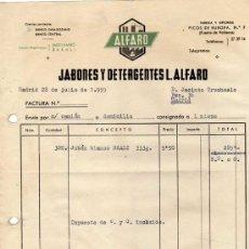 Fatture antiche: FACTURA. JABONES, DETERGENTES L. ALFARO. PUENTE DE VALLECAS. MADRID. 1955. Lote 19313681