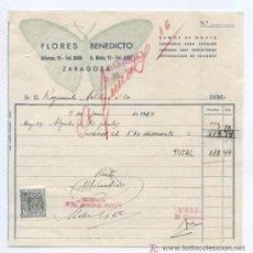 Facturas antiguas: TEMA FLORES. MARIPOSAS. FCTA DE FLORES BENEDICTO. ZARAGOZA 1954. CON SELLO FISCAL. Lote 19317297