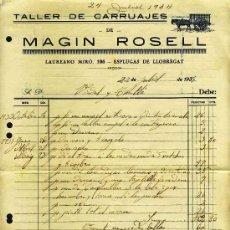 Facturas antiguas: FACTURA DE MAGIN ROSELL, TALLER DE CARRUAJES, DE ESPLUGUES DE LLOBREGAT. 1934. Lote 19391949