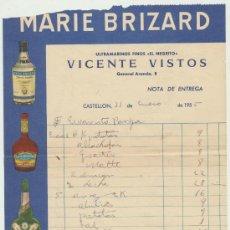 Facturas antiguas: FACTURA DE ULTRAMARINOS EL NEGRITO,CON PUBLICIDAD DE MARIE BRIZARD. AÑO 1955. Lote 19486053