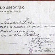 Facturas antiguas: RECIBO - HERALDO SEGOVIANO - SEGOVIA 1930.. . ENVIO GRATIS¡¡¡. Lote 19611936