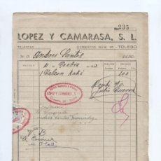 Facturas antiguas: TEMA MODA. FACTURA DE LOPEZ Y CAMARASA S.L. TOLEDO 1943. Lote 19822415