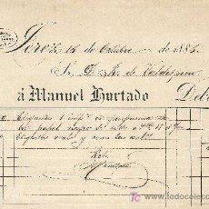 Facturas antiguas: JEREZ 16 DE OCTUBRE DE 1886. FACTURA LITOGRAFIA CALLE LARGA 73 Y 75. Lote 20012042