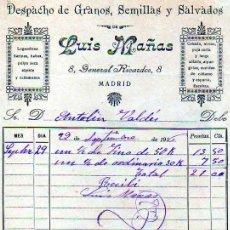 Facturas antiguas: FACTURA DE MADRID. DESPACHODE GRANOS, SEMILLAS Y SALVADOS. LUIS MAÑAS. GENERAL RICARDOS. FIRMA. . Lote 20248970