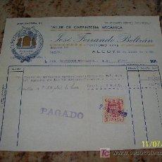 Facturas antiguas: TALLER DE CARPINTERÍA MECÁNICA JOSÉ FERRANDO BELTRÁN- ALCOY- 1950. Lote 20397792