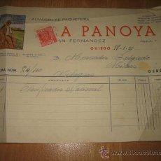 Facturas antiguas: LA PANOYA ALMACEN DE PAQUETERIA FRUELA 7 OVIEDO 17-1-51. Lote 20747283