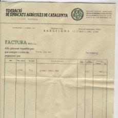 Facturas antiguas: FACTURA. GUERRA CIVIL. ANY 1938. FEDERACIO DE SINDICATS AGRICOLES DE CATALUNYA. GENERALITAT.. Lote 20991513