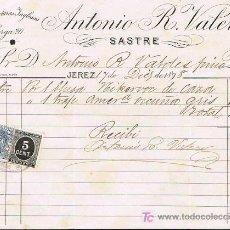 Facturas antiguas: SELLO TIMBRE MÓVIL E IMPUESTO DE GUERRA, RECIBÍ DE ANTONIO R. VALERO, SASTRE,JEREZ 7 DICIEMBRE 1.898. Lote 21058684