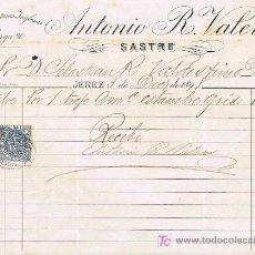 Facturas antiguas: SELLO TIMBRE MÓVIL E IMPUESTO DE GUERRA, RECIBÍ DE ANTONIO R. VALERO, SASTRE,JEREZ 3 DICIEMBRE 1.898. Lote 21058789
