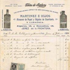 Facturas antiguas: SELLO TIMBRE MÓVIL E IMPUESTO DE GUERRA,RECIBÍ DE MARTÍNEZ E HIJOS,ALMACÉN PAPEL,JEREZ FEBRERO 1.899. Lote 21059648