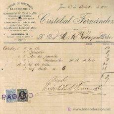 Facturas antiguas: SELLO TIMBRE MÓVIL E IMPUESTO DE GUERRA, RECIBÍ DE CRISTÓBAL FDEZ., FERRETERÍA, JEREZ OCTUBRE 1.898. Lote 21059722