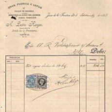 Facturas antiguas: SELLO TIMBRE MÓVIL E IMPUESTO DE GUERRA,RECIBÍ DE A. LEÓN RAYER,FÁBRICA A VAPOR,JEREZ SEPTBRE. 1.898. Lote 21097105