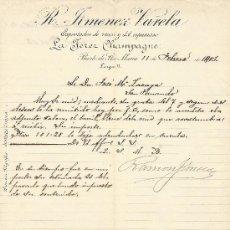 Facturas antiguas: PUERTO DE SANTA MARIA 11 DE FEBRERO DE 1901. FACTURA R. JIMENEZ VARELA E`PORTADOR DE VINOS. Lote 206581742