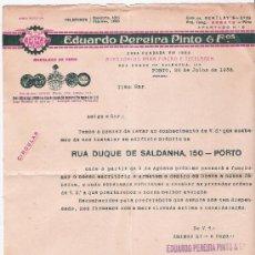 Facturas antiguas: EDUARDO PEREIRA PINTO. ACESSORIOS PARA FIAÇAO E TECELAGEM. OPORT0 1938.. Lote 21175056