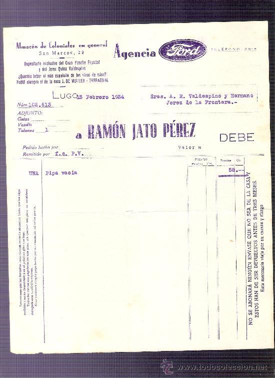 factura. agencia ford. almacen de coloniales. a - Comprar