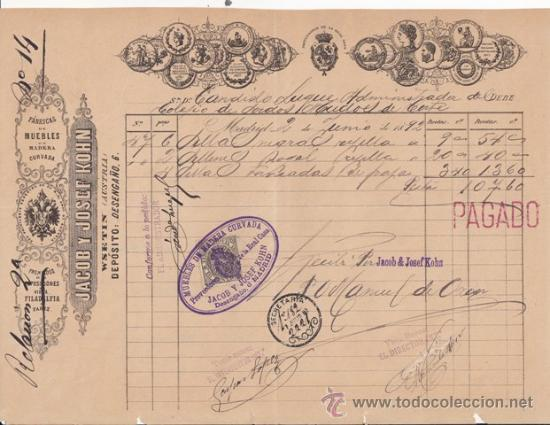 FACTURA: JACOB Y JOSÉF KOHN, FÁBRICA DE MUEBLES. DESENGAÑO, 6 - MADRID 1892 (Coleccionismo - Documentos - Facturas Antiguas)