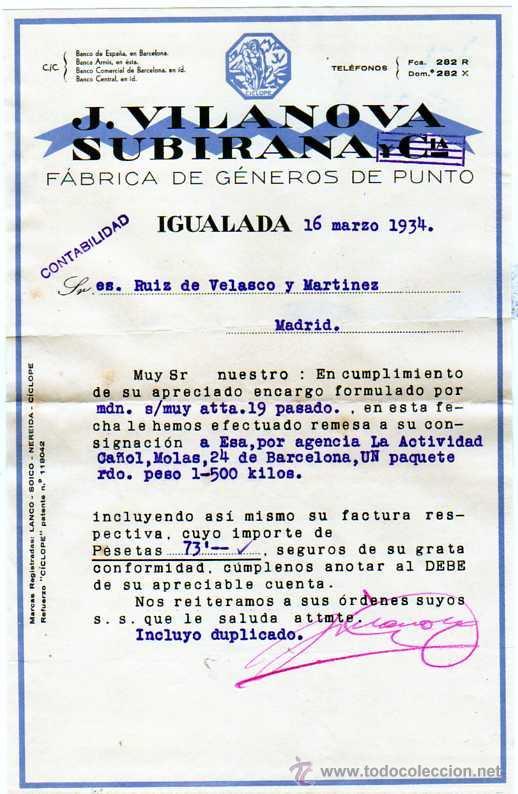 FACTURA. J. VILANOVA. SUBIRANA. IGUALADA. BARCELONA. FÁBRICA DE GÉNEROS DE PUNTO. 1934. (Coleccionismo - Documentos - Facturas Antiguas)