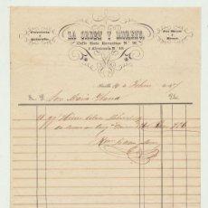 Facturas antiguas: FERRETERÍA Y QUINCALLA. LA ORDEN Y MORENO. CALLE SIETE REVUELTAS Nº 18. SEVILLA 1857.. Lote 22086168