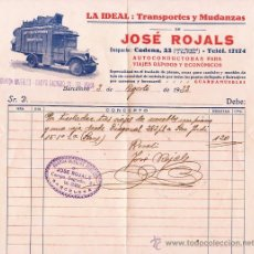 Facturas antiguas: ANTIGUA FACTURA LA IDEAL TRANSPORTES Y MUDANZAS JOSE ROJALS BARCELONA 1933. Lote 25643308