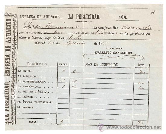 Madrid 1865 La Publicidad Empresa De Anuncios Comprar Facturas