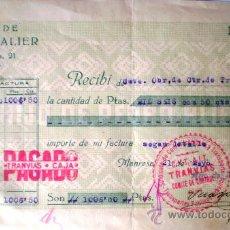 Facturas antiguas: FACTURA GUERRA CIVIL HIJO DE PEDRO ALIER MANRESA 1937 VER FOTOS SELLO CNT-AIT TRANVIAS. Lote 23701032