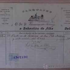 Faturas antigas: FACTURA. PUERTO STA. MARIA. NBRE.1905.SEBASTIAN DE ALBA. CARRUAJES. PARA D. FERNANDO TERRY.. Lote 23868560