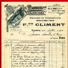 Fatture antiche: FACTURA LA MAQUINISTA VALENCIANA, FCO. CLIMENT,CONSTRUCCION , MODERNISTA, VALENCIA, 1911, F88A. Lote 23946641