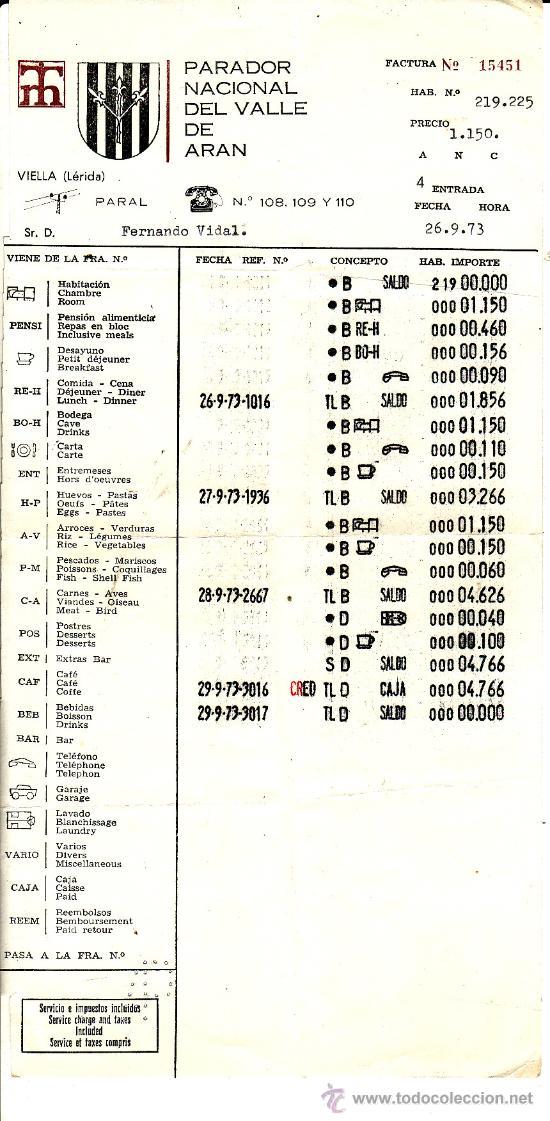** PA226 - FACTURA PARADOR NACIONAL DEL VALLE DE ARAN - 1973 (Coleccionismo - Documentos - Facturas Antiguas)