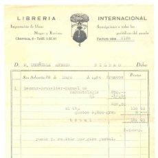 Facturas antiguas: LIBRERÍA INTERNACIONAL. Lote 25891597