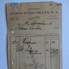 Facturas antiguas: FACTURA. MADRID. NOVIEMBRE 1942. ALMACENES PRATS. S. A.. Lote 206536337