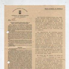 Facturas antiguas: INSTITUTO NACIONAL DE PREVISIÓN.INSPECCIÓN DE SEGUROS SOCIALES. REYES CATÓLICOS 21,SEVILLA 1938.. Lote 26611952