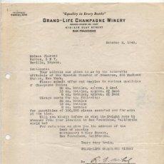 Facturas antiguas: CARTA RESPUESTA CON MEMBRETE.GRAND LIFE CHAMPAGNE WINERY - SAN FRANCISCO 1940.. Lote 26612105