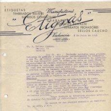 Facturas antiguas: HOJA PUBLICIDAD. MANUFACTURAS ETIGXÁS. VALENCIA 1940.. Lote 26612501