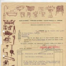 Facturas antiguas: CARTA DE PEDIDO DE FERRETERÍA GUTIERREZ. CÓRDOBA 1940.. Lote 26617307